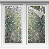 YOLETO Window Film Privacy Window Sticker Static Cling Non-Adhesive No Glue 3D Diamond Impatiens Window Glass Door Decals UV