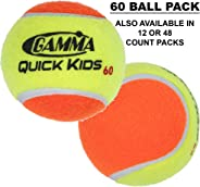 Gamma Beginner Child or Adult Training (Transition) Practice Tennis Balls: Orange or Green Dot, Quick Kids 36, 60, or 78 (25%