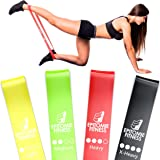 Resistance Bands Set of 4 - Premium Natural Latex Fitness Bands for Home Exercises, Crossfit, Rehab, Physical Therapy, Stretc