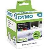 DYMO LW Large Address Labels, 36mm x 89mm, Black Print on White, 2 Rolls of 260, (520 Easy-Peel Labels), Self-Adhesive, for L