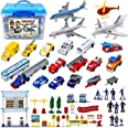 Liberty Imports Deluxe 57-Piece Kids Airport Playset in Storage Bucket with Toy Airplanes, Play Vehicles, Police Figures, and