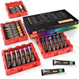ARTEZA Gouache Paint, Set of 24 Colors/Tubes (24X12Ml/0.4Oz) with Storage Box, Rich Pigments, Vibrant, Non Toxic Paints for T