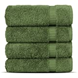 Chakir Turkish Linens Hotel & Spa Quality, Highly Absorbent 100% Cotton Turkish Towel Set (Washcloth - Set of 4, Moss)