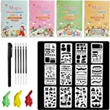 4 Pack Magic Practice Copybook Set, Handwriting Copybooks for Math, Alphabet, Numbers and Drawing, Lifepigment Copybook, Reus