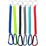 Happyi 6Pcs Colorful Flexible Theftproof Spring Coil Cord Keychain Ring with Clip Fishing Lanyards Boating Multicolor Fishing
