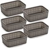 BINO Woven Plastic Storage Basket (Light Grey, 5PK- XS)