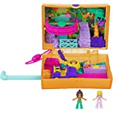 Polly Pocket Jungle Safari Compact with Fun Reveals, Micro Polly and Shani Dolls, 2 Sloth Figures & Sticker Sheet; for Ages 4