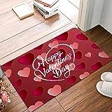 Family Decor Happy Valentine's Day with Heart Shaped Pattern Door Mat Rug Indoor/Front Door/Shower Bathroom Entrance Mats Rug