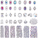 Selizo 3168pcs Rhinestones Nail Crystals Rhinestones with 30pcs Nail Metal Gems Jewels Stones for 3D Nails Art Decoration Nai