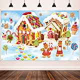 Christmas Holiday Decorations Supplies, Large Fabric Sweet Holiday Scene Banner Winter Wonderland Gingerbread Backdrop for Ch