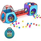 Brainy Shark Kids Pop Up Play Tent with 2 Outdoor/Indoor Tents, 1 Crawl Tunnel for Kids, Toddler, Girls, Boys, with Carrying