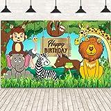 Jungle Animal Theme Birthday Party Decorations, Extra Large Fabric Safari Animal Elements Printed Happy Birthday Backdrop Fun