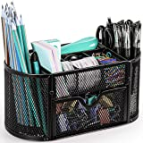 Mesh Desk Organizer, JORLAI Desktop Office Supplies Multi-Functional Caddy Pen Holder Stationery with 8 Compartments and 1 Dr