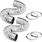 VIVOSUN 2-Pack 6 Inch 8 Feet Non-Insulated Flex Air Aluminum Ducting for HVAC Ventilation, 4 Clamps Included