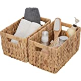 GRANNY SAYS Hand-Woven Storage Baskets with Cut-Out Handles, Water Hyacinth Wicker Baskets for Organizing, Rectangle Decorati