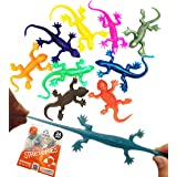 UpBrands 24 Pack Super Stretchy Lizards Toys 2 1/2 Inches Bulk Set, 8 Glitter Colors, Kit for Birthday Party Favors for Kids,