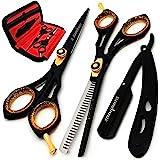 Saaqaans SQS-01 Professional Hair Cutting Scissors Kit - Haircut Scissor for Barber/Hairdresser/Hair Salon + Thinning/Texture