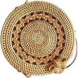 Moligh doll 手織り 厚い クラシック ラウンド ラタンのバッグ 茶色