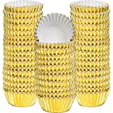 Sumind 400 Pieces Mini Cupcake Cup Liners, Foil Baking Cups, Foil Cupcake Liners for Baking Muffin and Cupcakes (Gold)