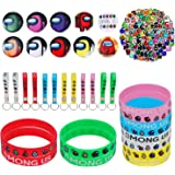 Crown Joker Party Supplies for Game Fans, 134 Pcs Party Favors - 12 Key Chain, 12 Bracelets, 10 Button Pins, 100 Stickers for