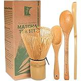BambooMN Matcha Whisk Set - Golden Chasen (Tea Whisk) + Chashaku (Hooked Bamboo Scoop) + Tea Spoon - 1 Set - Premium Matcha S