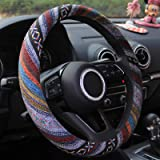 15 inch New Baja Blanket Car Steering Wheel Cover Universal Fit Most Cars Bell Automotive White Ethnic Style Coarse Flax Clot