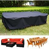 126 Inch Outdoor Waterproof Furniture Cover, Large Size Rectangular Cover for 6-8 Seats Sofa Furniture Set, 300D Heavy-duty W