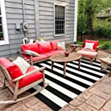 Indoor Outdoor Rug Runner 35.4'' x 59.2'', Collive Farmhouse Black/White Striped Cotton Woven Area Rugs, Washable Layered Doo
