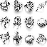 12 Pieces Snake Ring Animal Punk Vintage Ring Set for Men Women Retro Opening Adjustable Ring