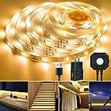 LED Strip Light, Topled 9.84ft Motion Sensor Flexible LED Tape Light (3000K Warm White) Under Bed Cabinet Night Lighting, Bri