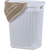 Superio Palm Luxe Laundry Hamper (1.4 Bushel), 507, White, 1.40 Bushel / 45 Liter