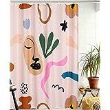 YoKii Aesthetic Terracotta Fabric Shower Curtain, Minimalist Abstract Modern Shapes Line Portrait Art Bathroom Shower Curtain