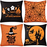 Whaline 4 Pieces Halloween Pillow Case, Orange and Black Pillow Cover, Happy Halloween Linen Sofa Bed Throw Cushion Cover Dec