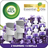 Air Wick Plug in Scented Oil Starter Kit, 2 Warmers + 6 Refills, Lavender & Chamomile, Eco Friendly, Essential Oils, Air Fres