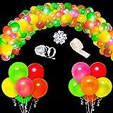 WATINC 123Pcs UV Blacklight Reactive Party Balloons Garland, Neon Fluorescent Balloons, Neon Glow in Dark Party Balloons, Par