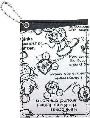 ミッキーマウス デッサン柄 両面パスケース (ホワイト) D1031WH