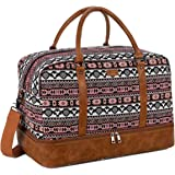 BAOSHA Women's Colorful Travel Duffel Bag Overnight Weekender Bag Carry On Tote Bag With Shoes Compartment HB-38 (YS)