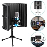 Neewer Tabletop Compact Microphone Isolation Shield with Tripod Stand, Mic Sound Absorbing Foam for Studio Sound Recording, P