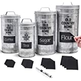 Farmhouse Kitchen Canisters Set by Saratoga Home - Bonus Removable Chalkboard Labels & Marker Included, 4 Airtight Rustic Gal