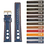 StrapsCo GT Rally Holes Racing Leather Watch Band - Quick Release Strap - 22mm - Blue & Orange
