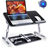 Laptop Table Stand Desk, Abetcabe Adjustable Laptop Bed Tray Table, Portable Stand Desk with USB Cooling Fan, Foldable Lap Ta