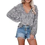 Biucly Women's Casual Boho Floral Print V Neck Long Sleeve Stylish Drawstring Tops Loose Blouses Shirts