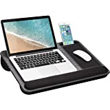 LapGear Home Office Pro Lap Desk with Wrist Rest, Mouse Pad, and Phone Holder - Fits Up to 15.6 Inch Laptops - Gray Woodgrain