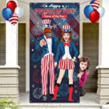 Patriotic Fourth of July Uncle Sam Photo Door Banner Photo Backdrop Prop, Large Fabric Photo Booth for Independence Day 4th o