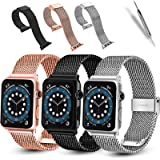 3 Pack Compatible with Apple Watch Band 38mm 40mm iWatch Bands 42mm 44mm for Women Men,Stainless Steel Mesh Sport Wristbands
