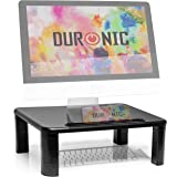 Duronic Monitor Stand Riser DM055 | Laptop and Screen Stand for Desktop | Black Wooden | Support for a TV or PC Computer Moni