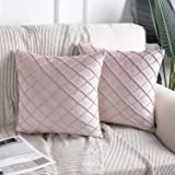 Phantoscope Pack of 2 Light Pink Soft Cozy Velvet Folder Throw Pillow Solid Square Cushion Cover 18 x 18 inches 45 x 45 cm