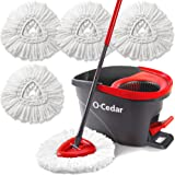O-Cedar EasyWring Microfiber Spin Mop & Bucket Floor Cleaning System with 4 Extra Refills, Mop