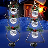MAGGIFT Christmas Outdoor Solar Stake Lights, 42.5 Inch Solar Powered Yard Decorations, Glass Globe Cool White LED Xmas Pathw