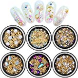 Nail Art Crystals Studs Decorations 3D Nail Art Rhinestones Gems Decals for Women 6 Boxes Mixed Patterns of Stars Moons Trian
